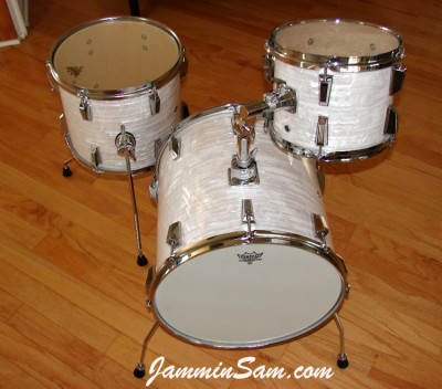 Photo of Bill Goff's Ludwig Mini kit with 60's White Pearl drum wrap (1)