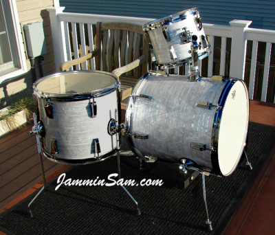 Photo of Bill Goff's Ludwig Mini kit with 60's White Pearl drum wrap (7)
