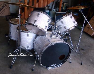 Photo of Doug Davis' CB-700 drum set with 60's White Pearl drum wrap (10)