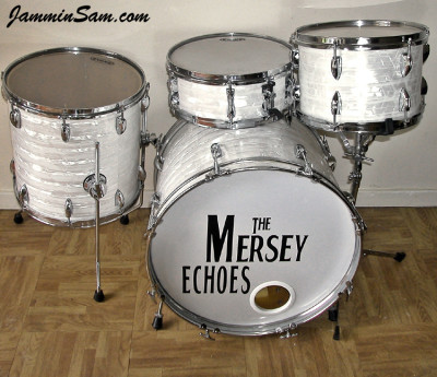 Photo of John Cotter's small drum set with 60's White Pearl (7)