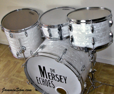 Photo of John Cotter's small drum set with 60's White Pearl (8)