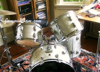 Photo of John Remenarich's drums with 60's White Pearl drum wrap (2)