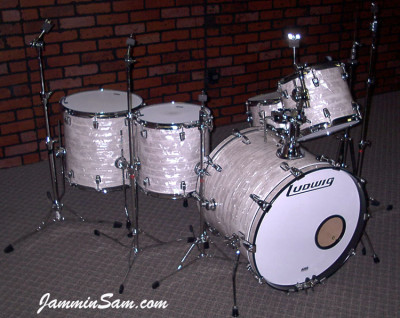 Photo of Mike McCullough's Ludwig kit with 60's White Pearl drum wrap (2)