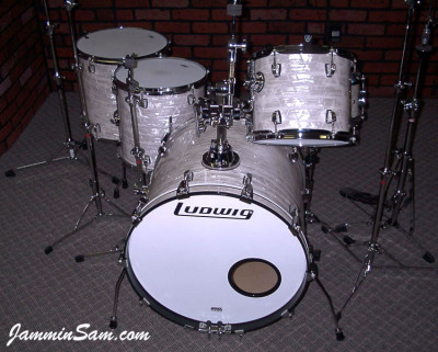 Photo of Mike McCullough's Ludwig kit with 60's White Pearl drum wrap (3)