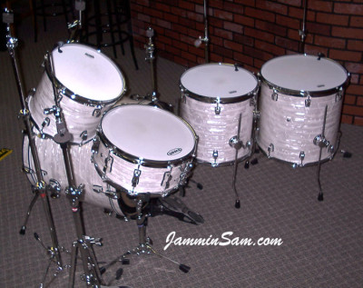 Photo of Mike McCullough's Ludwig kit with 60's White Pearl drum wrap (4)