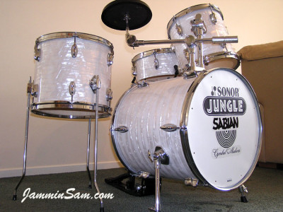 Photo of Paul Collinson's Sonor drums with 60's White Pearl drum wrap (10)