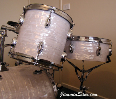 Photo of Paul Collinson's Sonor drums with 60's White Pearl drum wrap (9)