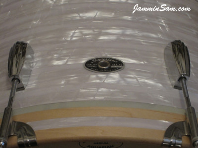 Photo of Shannon Edens' Slingerland bass drum with 60's White Pearl drum wrap (94)