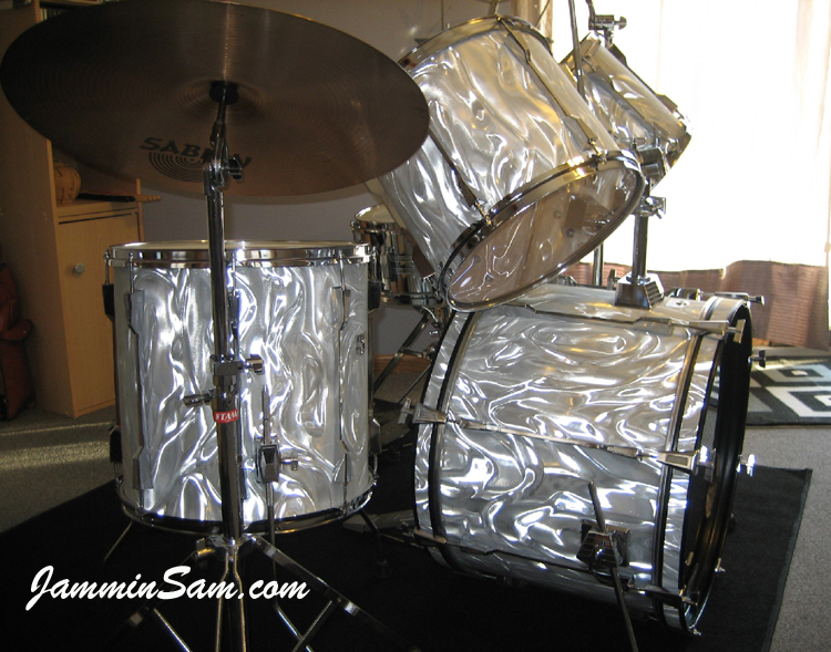 Photo Of Glenn Giesregens Tama Rockstar Drums With White Satin Flame Drum Wrap 4