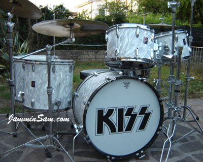 Photo of Guido Innocenzi's Premier kit with White Satin Flame drum wrap (2)