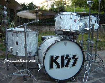 Photo of Guido Innocenzi's Premier kit with White Satin Flame drum wrap (2)