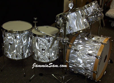 Photo of Jerry Witowski's Slingerland drums with White Satin Flame drum wrap (1)