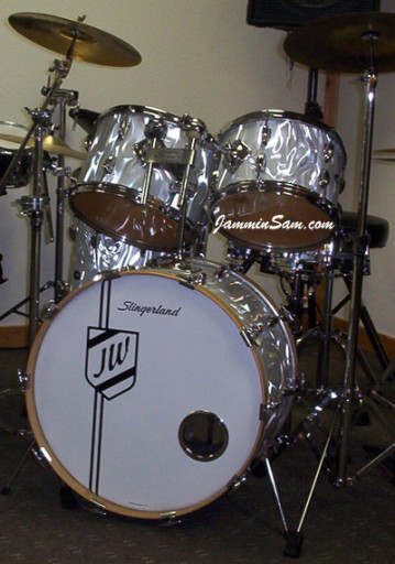 Photo of Jerry Witowski's Slingerland drums with White Satin Flame drum wrap (2)