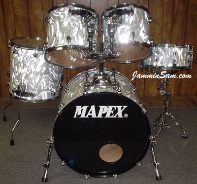 Photo of Joel Stovall's Mapex Saturn drums with White Satin Flame drum wrap