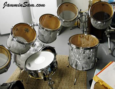 Photo of Mike Safranski's 1976 Slingerland Kit with White Satin drum wrap (20)