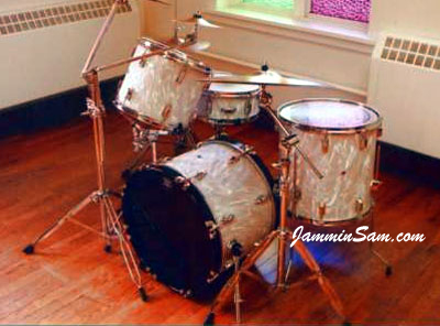 Mike Pickel's drums with White Satin Flame drum wrap