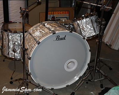 Photo of Scott Schroeder's drums with White Satin Flame drum wrap (1)