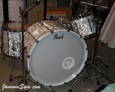 Photo of Scott Schroeder's drums with White Satin Flame drum wrap (1)