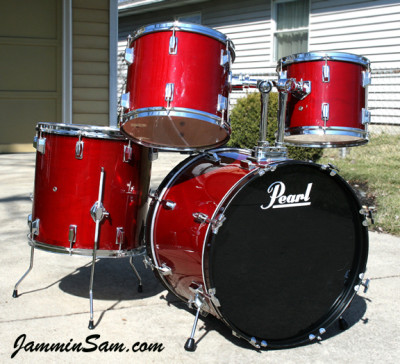 Photo of Billy Howard's Pearl drums with JS Hi Gloss Wine Red drum wrap
