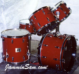 Photo of Kevin Glant's Rogers drum set with JS Hi Gloss Wine Red drum wrap