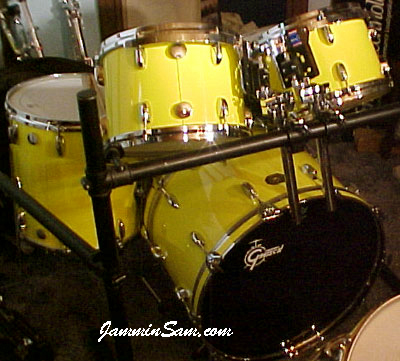 Photo of Bill Batty's kit with Hi Gloss Crazy Yellow drum wrap (2)