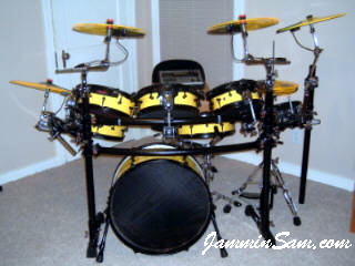 Photo of Brian Allison's electronic drums with Hi Gloss Crazy Yellow drum wrap