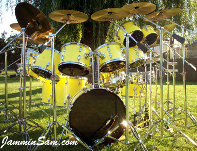 Photo of Bruce Johnson's CB drums with Hi Gloss Crazy Yellow drum wrap (2)