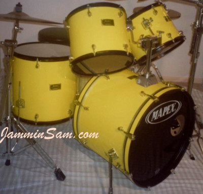 Photo of Jeff Finch's Mapex drum set with JS Vintage Yellow drum wrap (1)