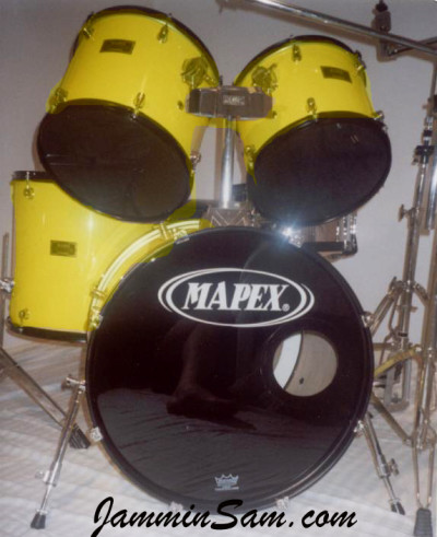 Photo of Jeff Finch's Mapex drum set with JS Vintage Yellow drum wrap (2)