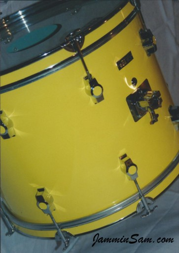 Photo of a CB700 drum set with JS Vintage Yellow drum wrap (3)