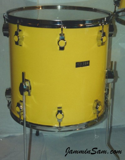 Photo of a drum set with JS Vintage Yellow drum wrap (7)